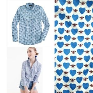 J. CREW Perfect Shirt Honeypie Print Bee Heart